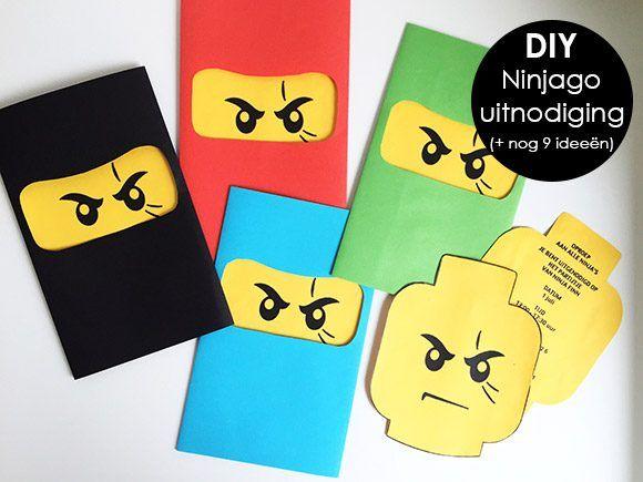 verjaardag, jarig, partijtje, uitnodiging, thema, ninja, ninjago, lego, kind…