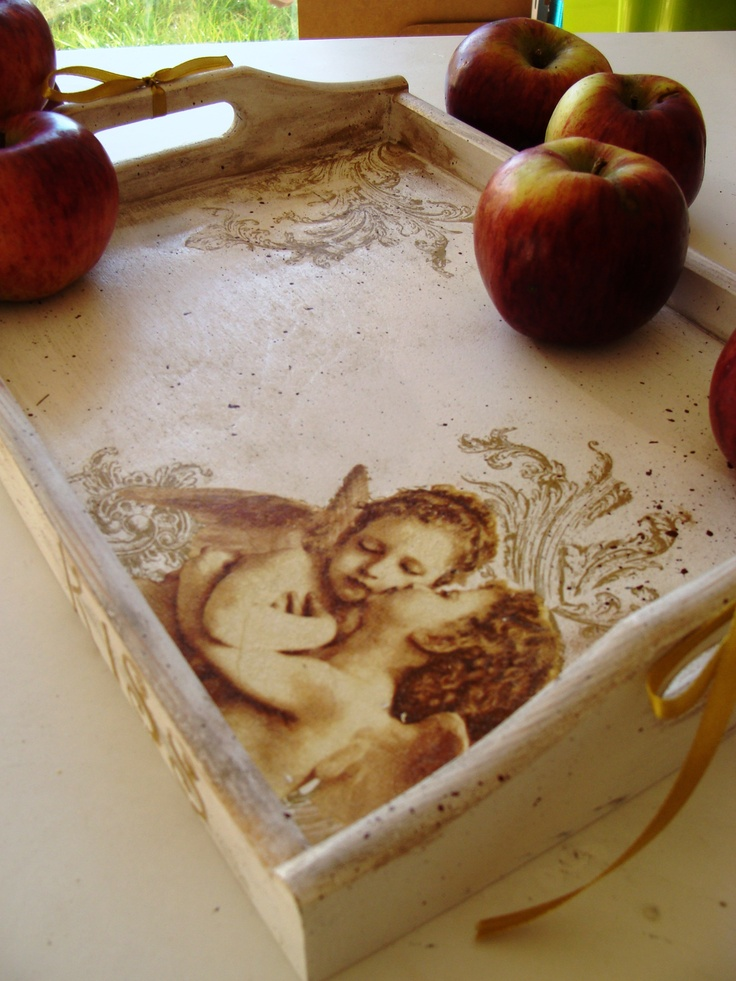 white tray, decoupage, angels
