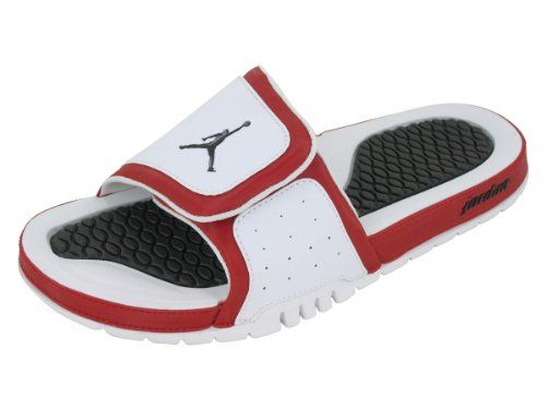Nike Men's NIKE JORDAN HYDRO 2 SANDALS 8 Men US (WHITE/BLACK/GYM RED)