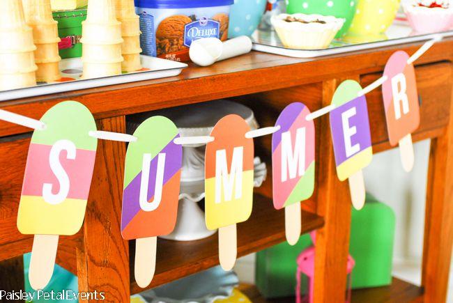 Summer Popsicle Banner- free printable