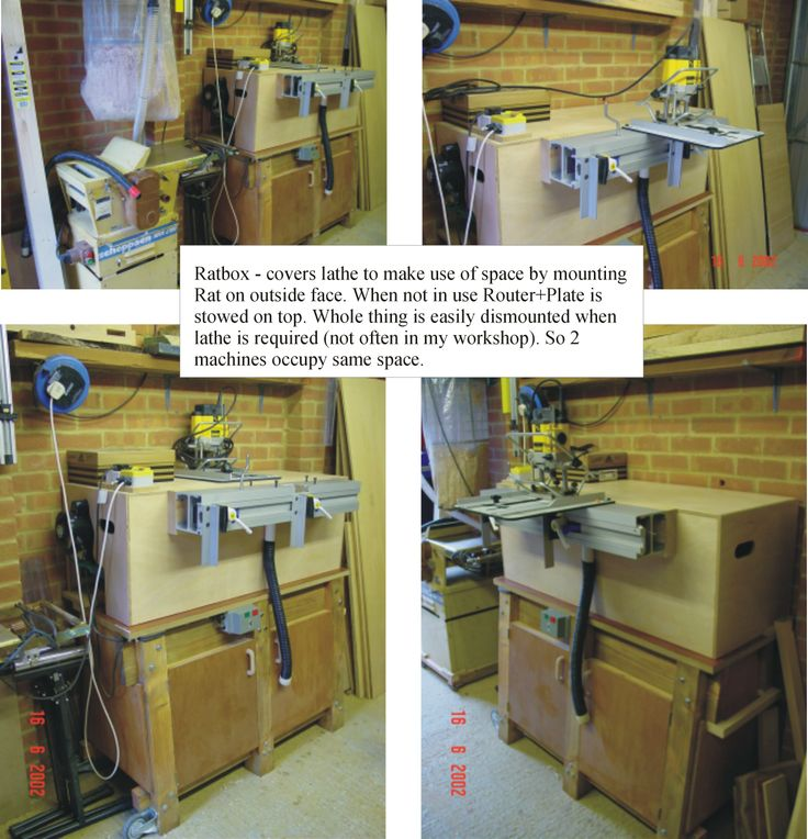 For the Woodrat... a RatBox I made which basically sits over the lathe bed so that the Rat can be mounted on the RatBox when the lathe is not in use. If any turning needs to be done then the RatBox just simply lifts off!
