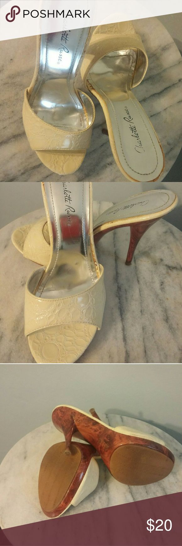 """Like New Charlotte Russe Slip-on Heels No visible signs of wear,  3"""" heels, woodgrain color. Very comfortable Charlotte Russe Shoes Mules & Clogs"""