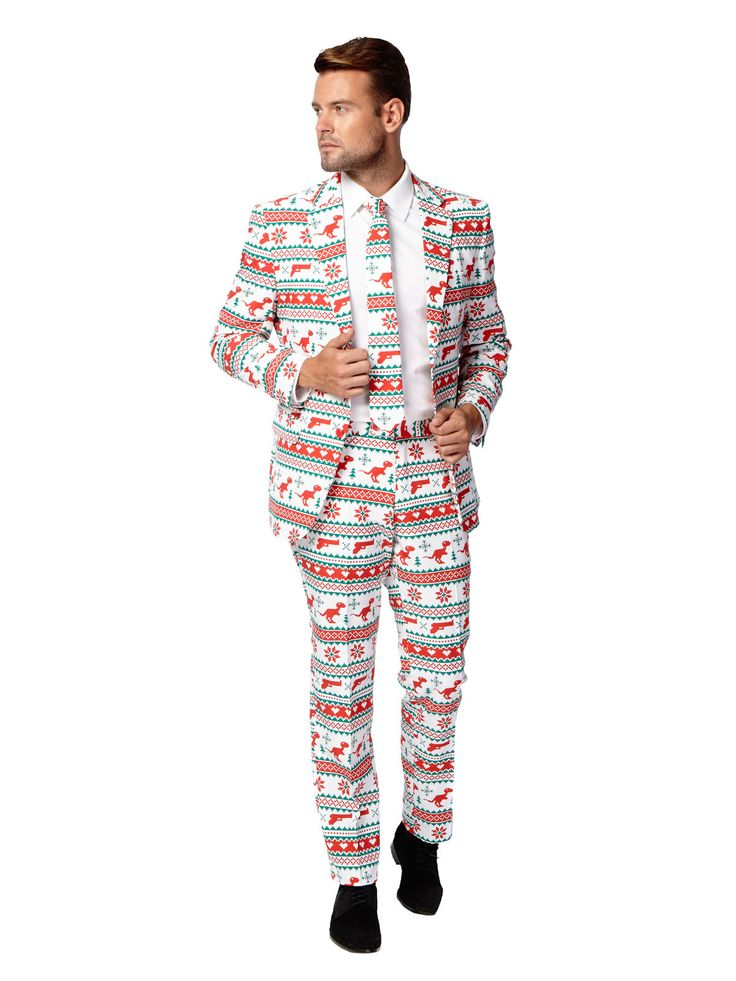 Opposuits Weihnachts-Anzug Dinos und Waffen weiss-rot-grün aus der Kategorie Karnevalskostüme / Weihnachtskostüme. Wie wäre es dieses Jahr mal mit einem Anzug an Heiligabend? Natürlich in weihnachtlichem Stil!