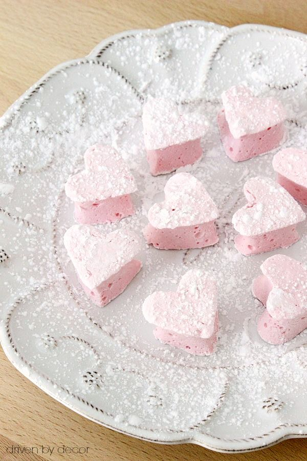 These adorable homemade heart marshmallows would be a welcome treat atop a cozy cup of hot chocolate