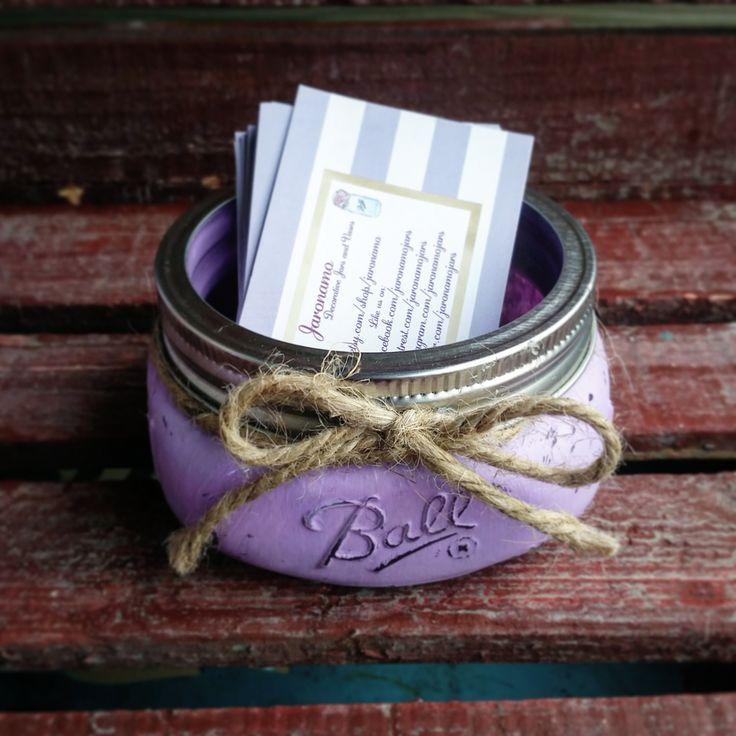 Order your custom handmade Mason Jar Business Card Holder today! Www.etsy.com/shop/Jaronamo, Follow on Facebook, Twitter, and Instagram @JaronamoJars 