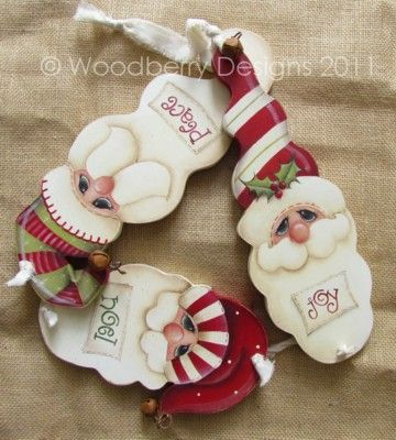 Woodberry Designs Santa painting pattern Christmas Ornaments.