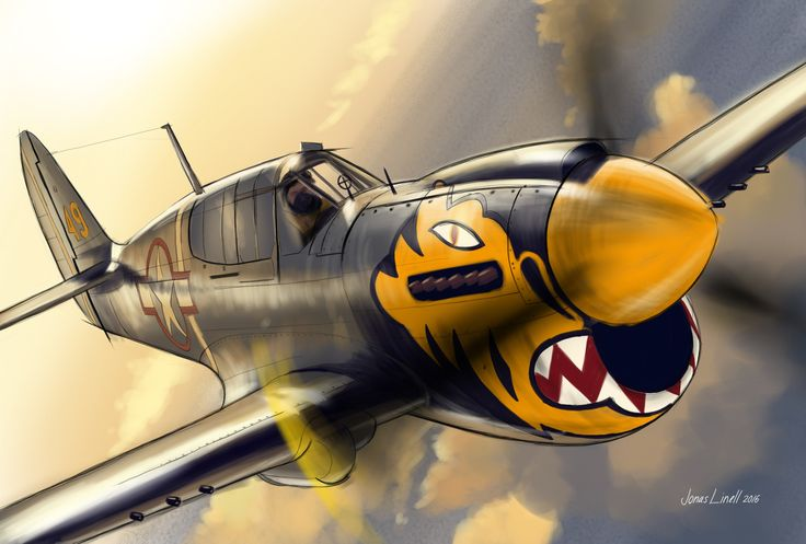 P-40, WWII Figher/attack aircraft. Illustration by Jonas Linell 2016.