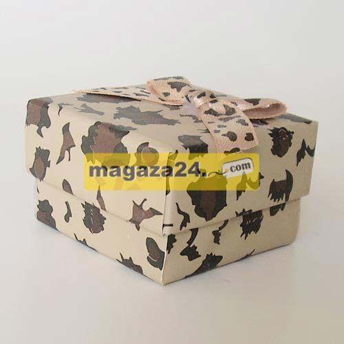 Kutucu Şeker Kutusu Kare Leopar 4 Adet, Magaza24