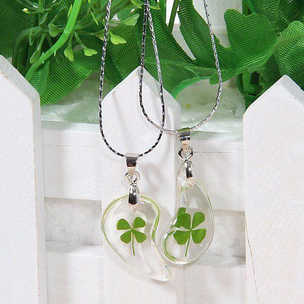 $2.47 2PCS Exquisite Water-drop Shaped with Four Leaf Clover Pattern Pendant Couple Necklace