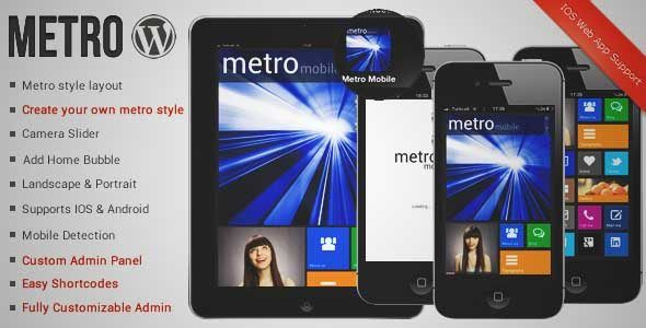 Download and review of Metro Mobile Premium Wordpress Mobile Template, one of the best Themeforest Mobile themes