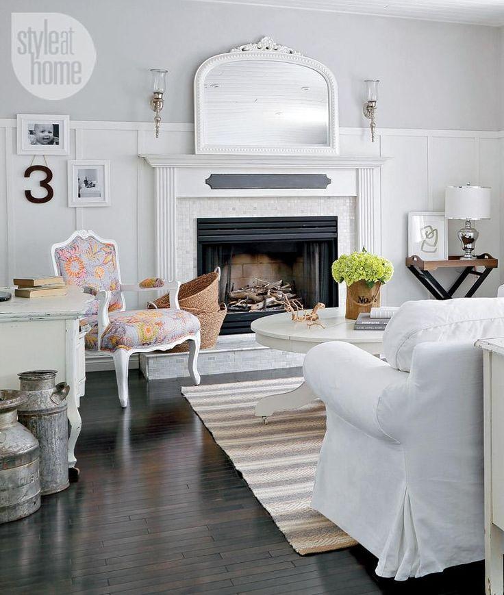 Beautiful white living room fireplace {PHOTO: Robin Stubbert}