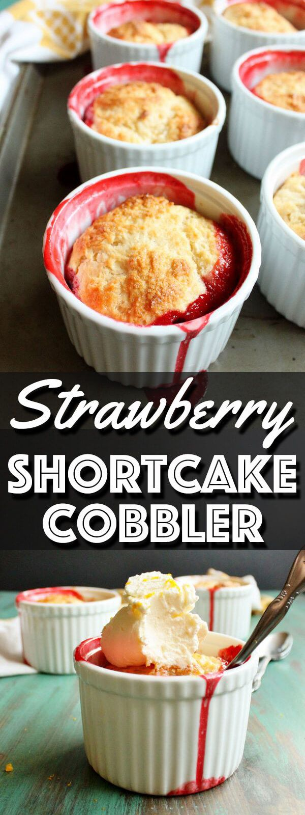 This Strawberry Shortcake Cobbler recipe makes a scrumptious strawberry dessert that is a hybrid of the beloved strawberry shortcake and a fruit cobbler. The small batch recipe makes just six individual serving size! | wildwildwhisk.com