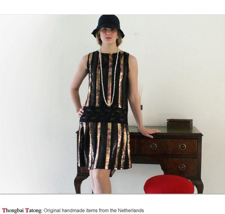 Black 1920s dress, flapper style, great gatsby dress, Charleston dress, 20s clothing with gold sequins, sleeveless drop waist 1920s dress. $145.00, via Etsy.