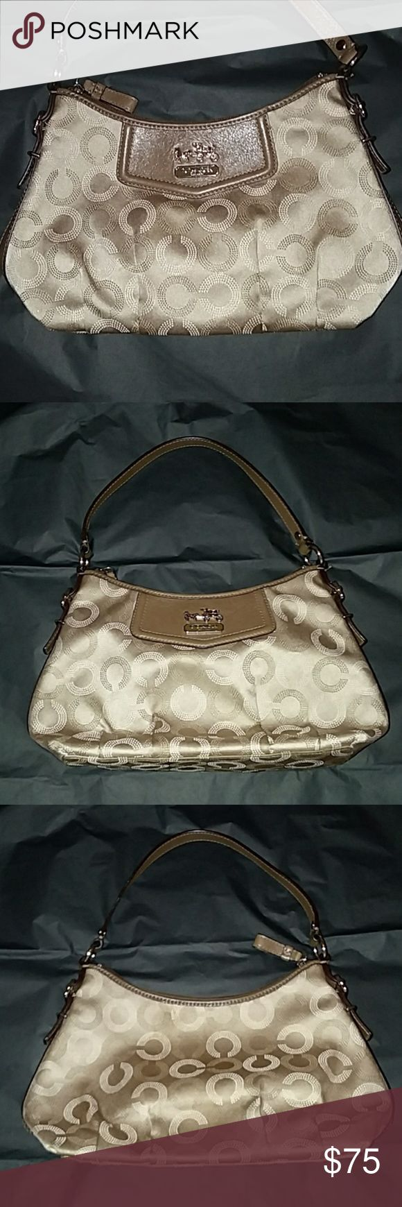 """Coach Madison Dotted Op Art Purse, Small Very cute Coach bag, perfect for a night out or for your teen!  Signature Cs in the Op Art Style. Taupe or tan colored purse with brown leather accents and strap.  Very good used condition, little or no strap wear, clean interior, minor stains on the bottom, the front and the back. Not very noticeable due to the color of the bag.  Measurements: 7"""" strap drop, 8.5"""" long at the bottom, 7"""" opening at the top, 3"""" deep, 6.5"""" tall at the shortest point…"""