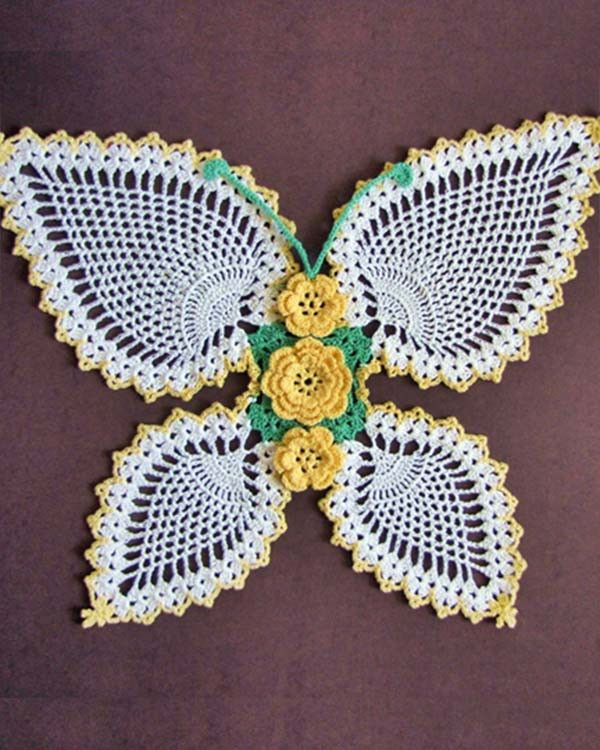 BC008 Butterflies and Roses Pineapple Doilies Pattern Download - Fantasy Flower Butterfly Doily
