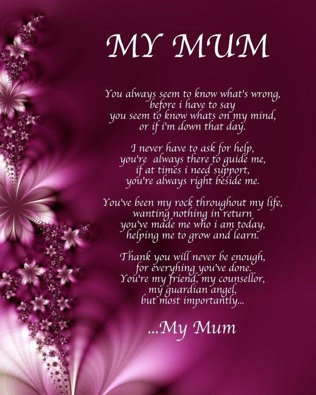 Personalised My Mum Poem Birthday Christmas Gift Present