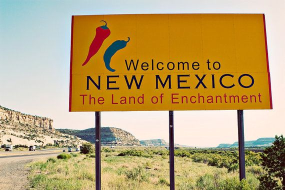 Route 66 Welcome to New Mexico Roadside Sign - State Sign Art - Road Trip Inspired - Land of Enchantment - Fine Art Photography