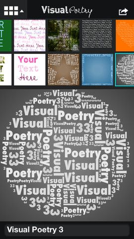 Visual Poetry makes beautiful text collages. Type a your text or phrase and watch it instantly arranged as a mosaic in a variety of shapes. 24 symbols and 6 type styles included.