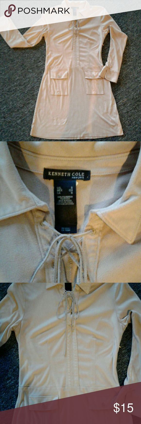 OBO Camel Kenneth Cole Flirt 100% POLYESTER Kenneth Cole Flrity dress Kenneth Cole Dresses Long Sleeve