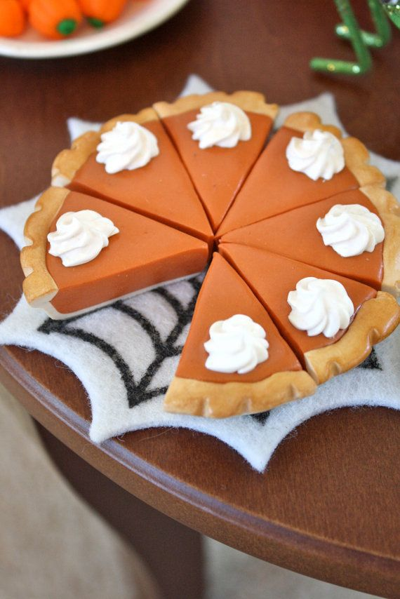 Whole Pumpkin Pie Food for American Girl Dolls by pippaloo on Etsy