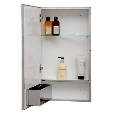 buy john lewis single mirrored bathroom cabinet large stainless steel online at johnlewis