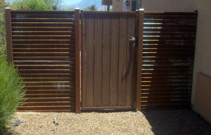 corregated metal fence | Corrugated Steel Fence and Gates