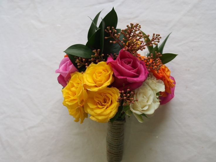 Bright wedding: Flowergirl's posy