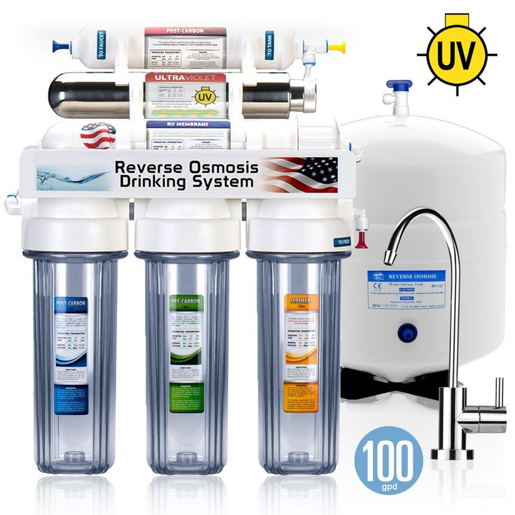ROUV10MC - 6 Stage UV Ultra-Violet Sterilizer Reverse Osmosis Home Drinking Water Filtration System -Clear Housing- -100 GPD- MODERN faucet - ROUV10MC - EXPRESS WATER