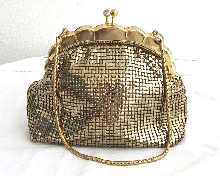 Vintage gold mesh bag, gold scalloped frame, gold rhinestone topped kiss lock, gold snake chain handle, Glomesh, as new, vintage, 1970s by CardCurios on Etsy