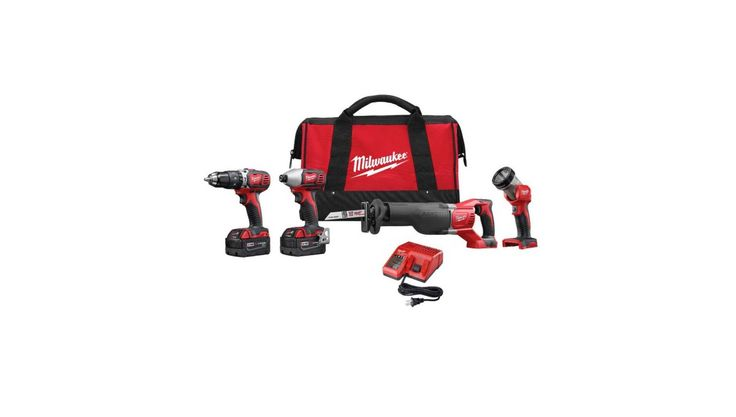 4 -Tool Milwaukee M18 18-Volt Lithium-Ion Cordless Hammer Drill Impact Sawzall Light Combo Kit for $279.00 at Home Depot