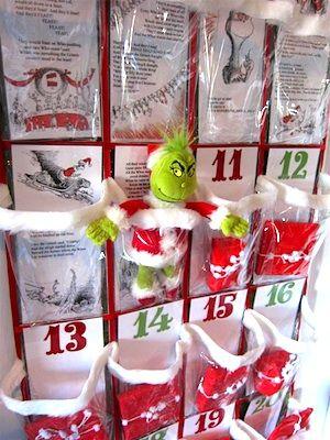 Grinch advent calendar with printable