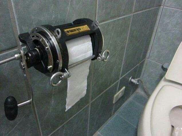 Fishing reel toilet paper holder!