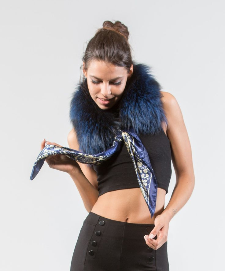 Electric Blue Fox Fur Collar     #electric #blue #fox #fur #collar #scarf #shawl #realfur #fluffy #elegant #neckwearing #headkerchief #chic #haute #style #accessories #fashion