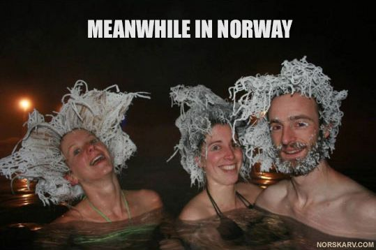 Meanwhile in Norway. Frozen hair in the hot tub. norwegian snow winter bikini fun funny humor