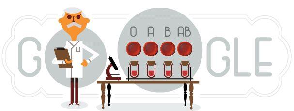 Karl Landsteiner, el Nobel de Medicina que diferenció los tipos de sangre Google rinde tributo al científico austriaco con motivo del 148 aniversario de su nacimiento