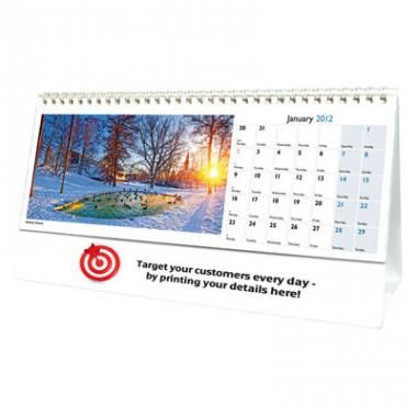 World in View Desk Calendar, 13 spot varnished leaves plus cover with white wire