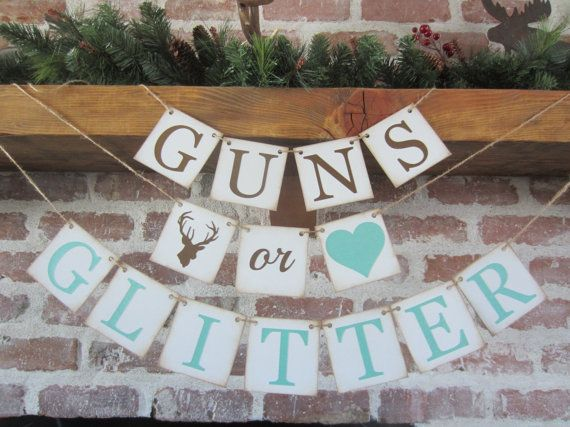 GENDER reveal banner GUNS or GLITTER baby by CowCountryCreations