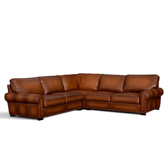 Turner leather 3 piece roll arm l shaped sectional for Pottery barn turner sectional sofa