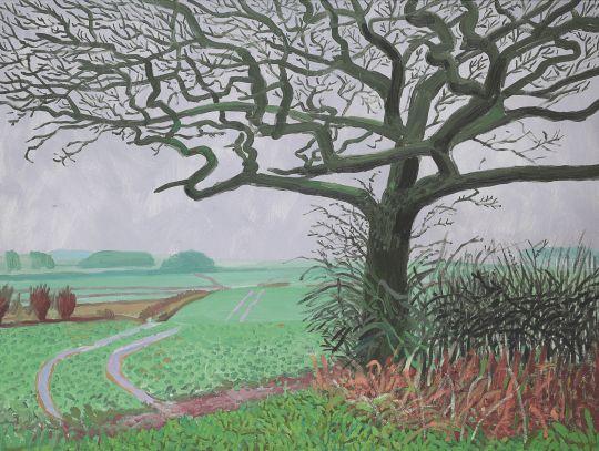David Hockney (UK b. 1937) The Field Entrance, January 2006 oil on canvas 91.4 x 121.9 cm