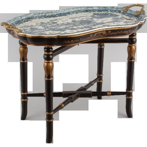 FABULOUS BLUE & WHITE PORCELAIN BLUE WILLOW TRAY TABLE ON BLK GLD WOOD STAND #UNBRANDED