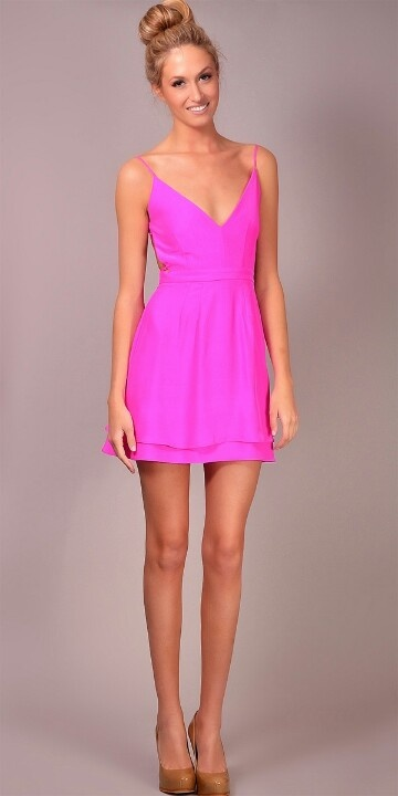 242f0096938e Neon pink dress. Would never wear nude shoes