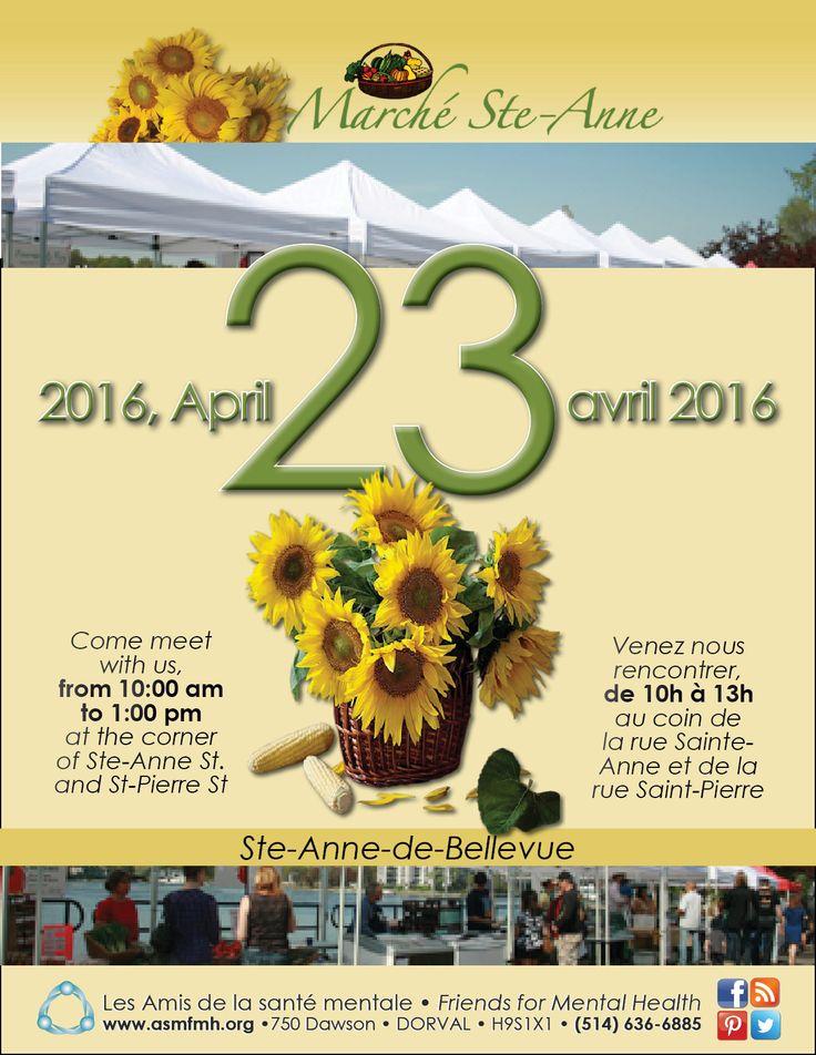 Information kiosk at Marché Ste Anne de Bellevue, April 23rd, 10:00am-1:00pm. Come visit us! Kiosque d'information au   Marché Ste Anne de Bellevue le 23 avril, de 10h à 13h. Venez vous rendre visite !  http://www.asmfmh.org/marche-ste-anne/