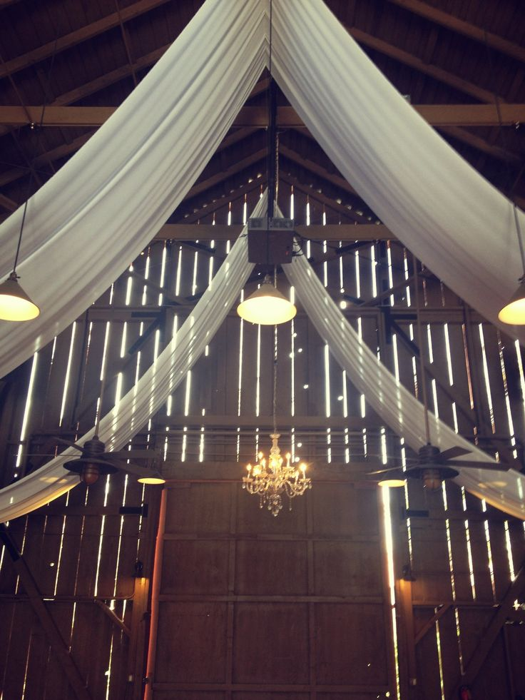 barn draping, crystal chandelier, Camarillo Ranch, www.partypleasers.com