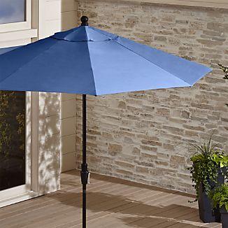 9' Round Sunbrella ® Mediterranean Blue Patio Umbrella with Tilt Black Frame
