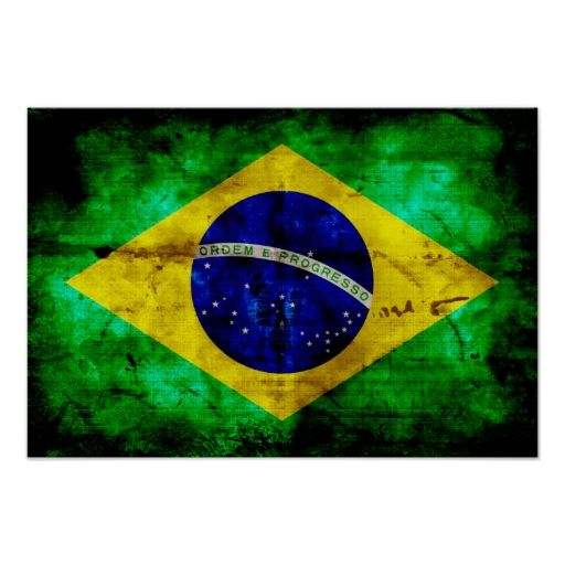 Weathered Brazil Flag Posters