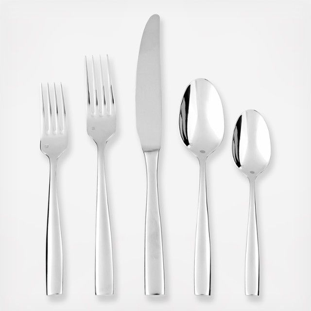 A clean, sculpted design with elegant curves and a traditional shape, these pieces are as suited for your formal dining room as your patio buffet. Heavy-gauge utensils are composed of polished stainless steel, with ergonomic handles that rest comfortably in hand, while high production standards ensure long-lasting performance and durability. Service for 4 includes: 4 Knives 4 Salad forks 4 Dinner forks 4 Table spoons 4 Teaspoons