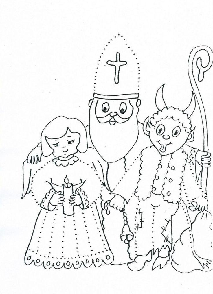 Omalovánka - Mikuláš, čert, anděl