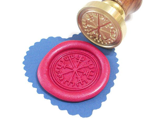This could be cool for sealing wedding invitations.   https://www.etsy.com/listing/236718869/viking-rune-vegvisir-wax-seal-stamp-or