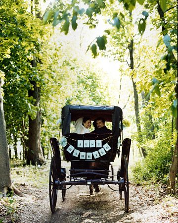 Jayme and Chris hit the road in a decked-out antique carriage.: Cards Stockings, Idea, Except, Wedding Decor, Wedding Photo, Getaways Cars, Wedding Cars, Martha Stewart, Just Marry