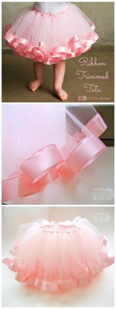 Step-by-Step Instructions: It's easy to make a DIY tutu by tying tulle around a strip of elastic -- but did you know you can embellish it with ribbon? Just sew it along the bottom of every strip of tulle. #diy #tutus @ribbonretreat